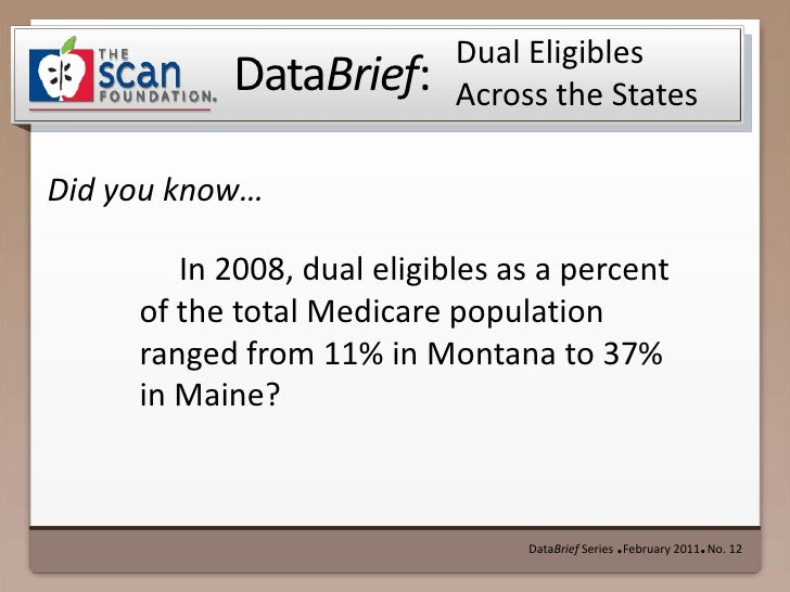 DataBrief Series  ● February 2011●  No. 12<br />Dual Eligibles Across the States<br />In 2008, dual eligibles as a percen...