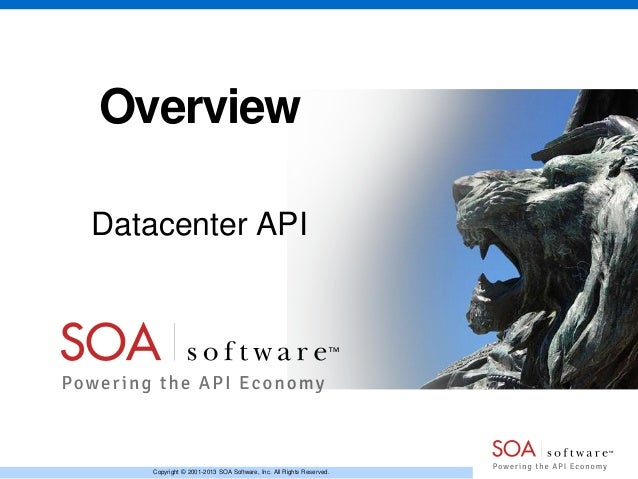 Overview Datacenter API  Copyright © 2001-2013 SOA Software, Inc. All Rights Reserved.