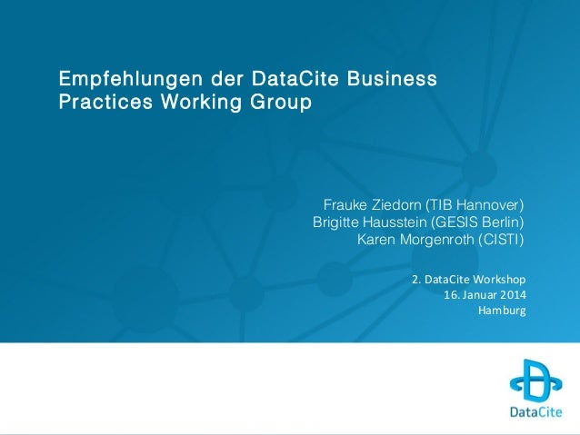 Empfehlungen der DataCite Business Practices Working Group - DataCite 2014