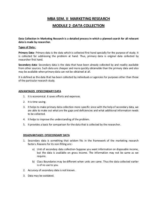 MBA SEM. II MARKETING RESEARCH                              MODULE 2 :DATA COLLECTIONData Collection in Marketing Research...