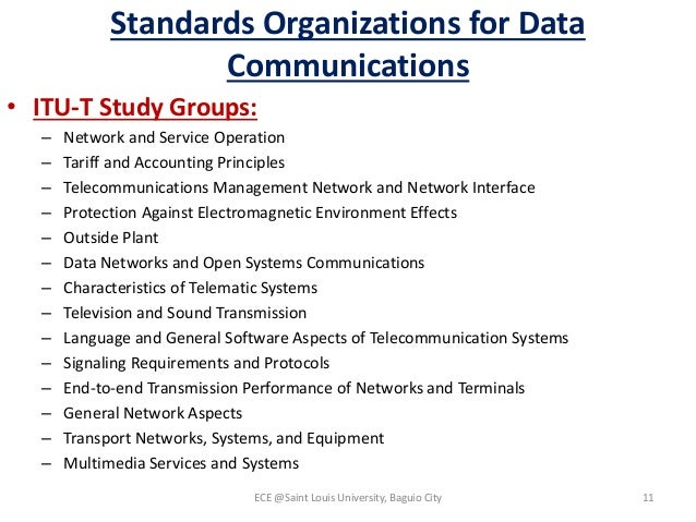 Standards Organizations for Data Communications