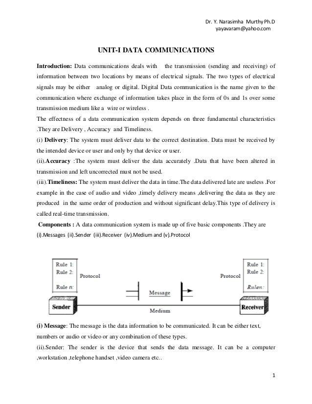 Dr. Y. Narasimha Murthy Ph.D yayavaram@yahoo.com  UNIT-I DATA COMMUNICATIONS Introduction: Data communications deals with ...