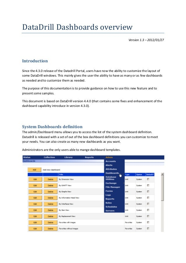 DataDrill Dashboards overview Version 1.3 – 2012/01/27  Introduction Since the 4.3.0 release of the Datadrill Portal, user...