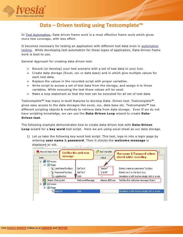 Data Driven Testing - Automated QA - TestComplete™