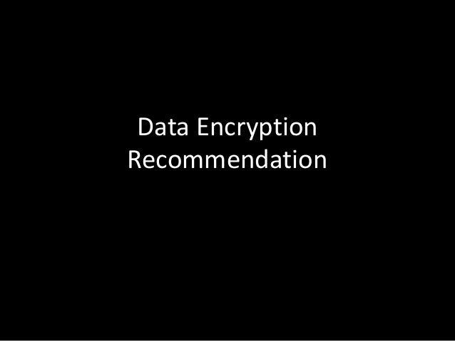 Data encryption recommendation