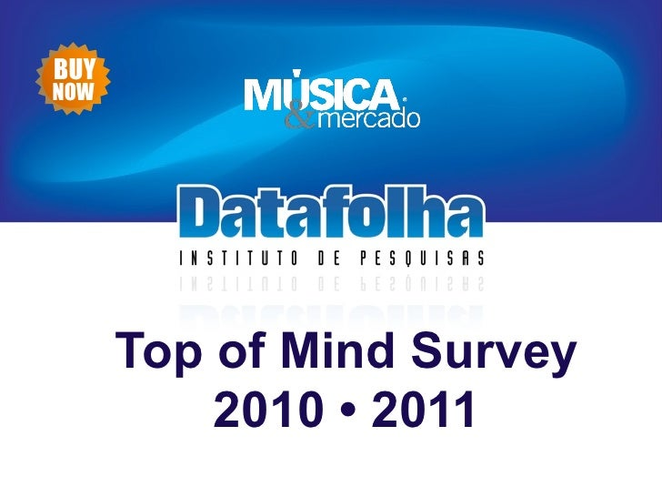 HistóricoBUYNOW      Top of Mind Survey          2010 • 2011