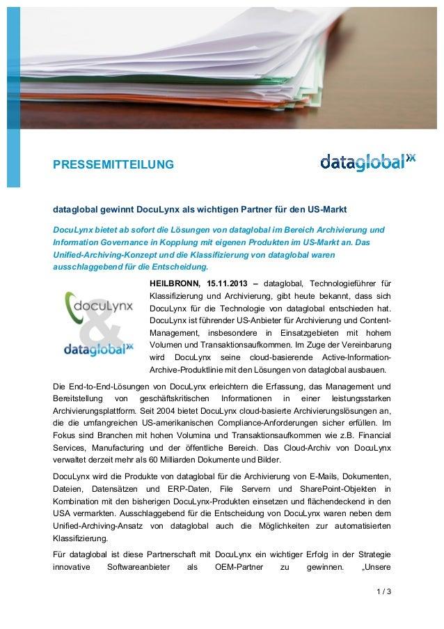 PRESSEMITTEILUNG  dataglobal gewinnt DocuLynx als wichtigen Partner für den US-Markt DocuLynx bietet ab sofort die Lösunge...