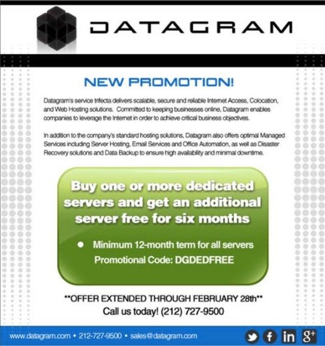 Datagram buy one six month free february 2013 promo
