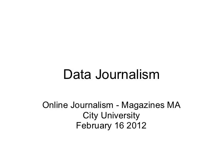 City Journalism - Magazines MA - week 8 - Data journalism