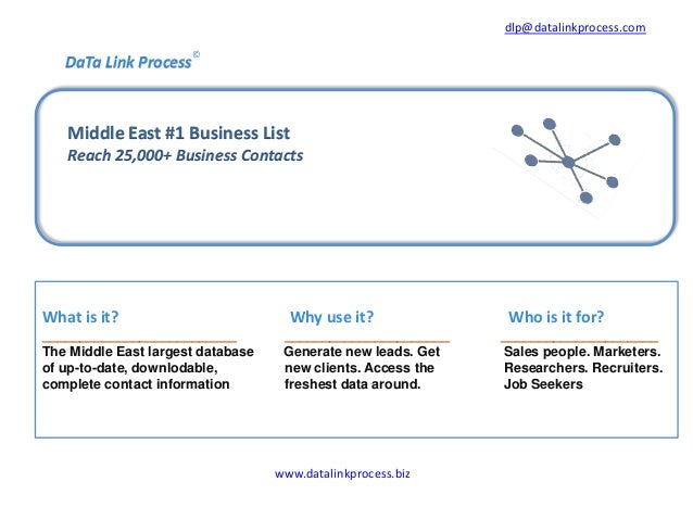 dlp@datalinkprocess.com  DaTa Link Process  ©  Middle East #1 Business List Reach 25,000+ Business Contacts  What is it? _...