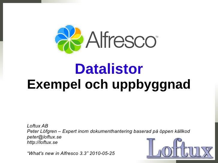 Datalistor i alfresco