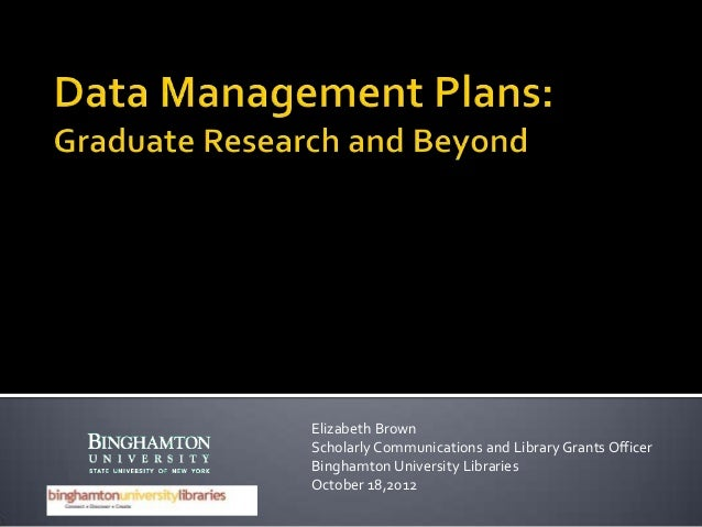 Data management plans archeology class 10 18 2012
