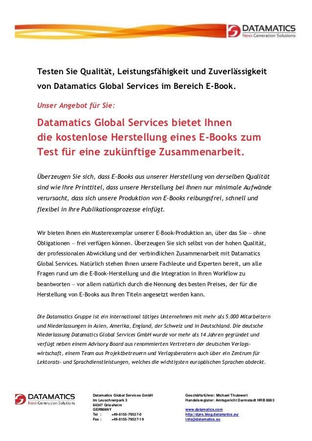 Datamatics Global Services Gratisangebot einer eBook Produktion -  testen Sie Qualität, Leistungsfähigkeit und Zuverlässigkeit ohne Risiko