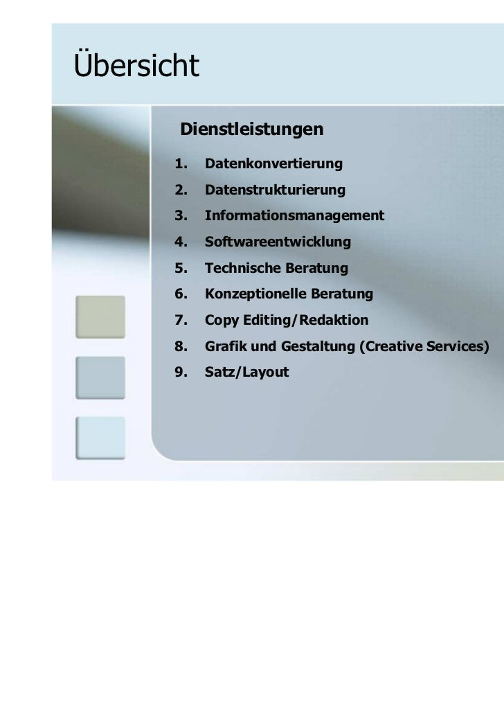 Übersicht       Dienstleistungen       1.   Datenkonvertierung       2.   Datenstrukturierung       3.   Informationsmanag...
