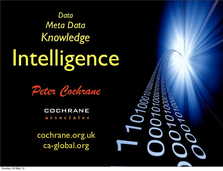 Data                       Meta Data                      Knowledge       Intelligence                    Peter Cochrane  ...
