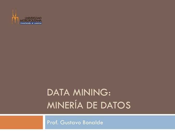 DATA MINING:MINERÍA DE DATOSProf. Gustavo Bonalde