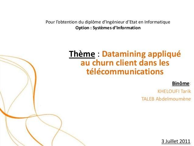 Datamining appliqué au churn client dans les télécommunications