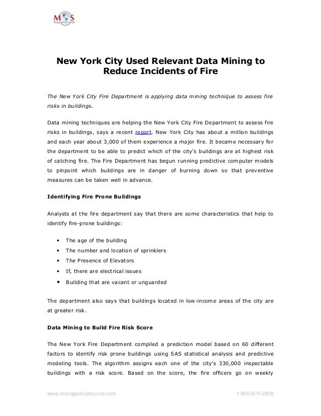New York City Used Relevant Data Mining to Reduce Incidents of Fire