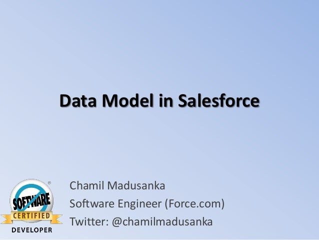 Data Model in Salesforce  Chamil Madusanka Software Engineer (Force.com) Twitter: @chamilmadusanka