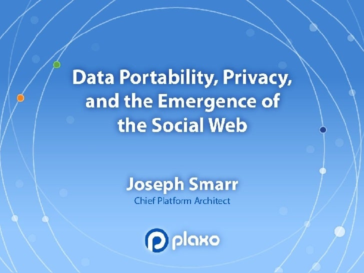 Data Portability, Privacy, And The Emergence Of The Social Web Presentation