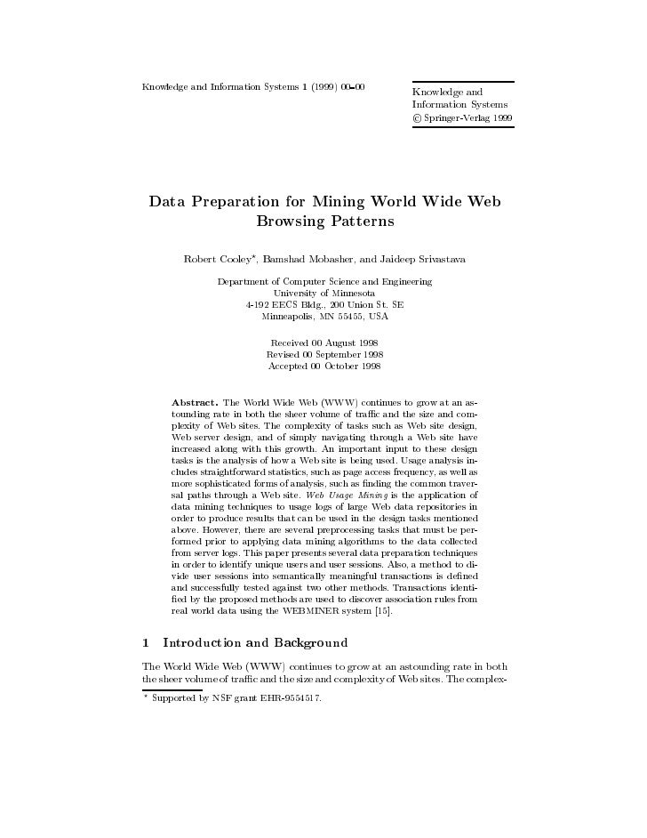 Data preparation for mining world wide web browsing patterns (1999)