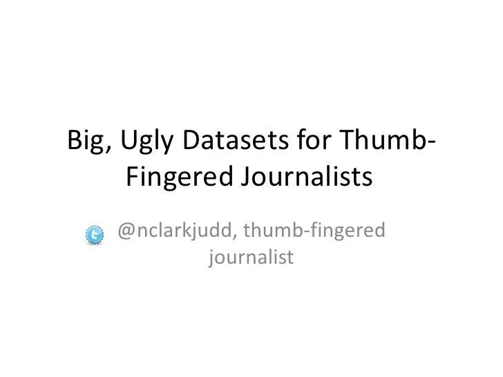 Big, Ugly Datasets for Thumb-Fingered Journalists<br />@nclarkjudd, thumb-fingered journalist<br />