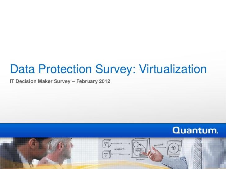 Virtualization Results: Quantum 2012 IT Manager Survey