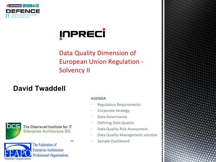 Defence IT 2012 - Data Quality and Financial Services - Solvency II