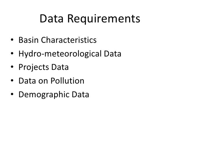 Data requirements for Ganga River Basin Management Plan