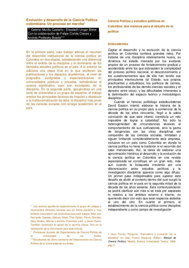 Evolución y desarrollo de la Ciencia Política                            Ciencia Política y estudios políticos encolombian...