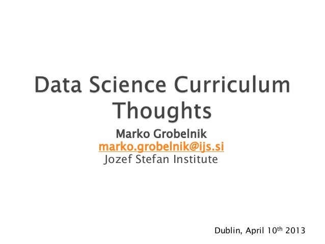 Data Science Curriculum - Approaches towards preparing a curriculum