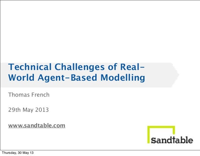 Thomas French29th May 2013www.sandtable.comTechnical Challenges of Real-World Agent-Based ModellingThursday, 30 May 13
