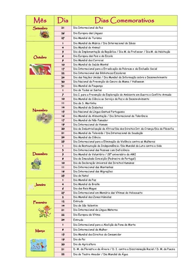 Datas comemorativas 2012-2013