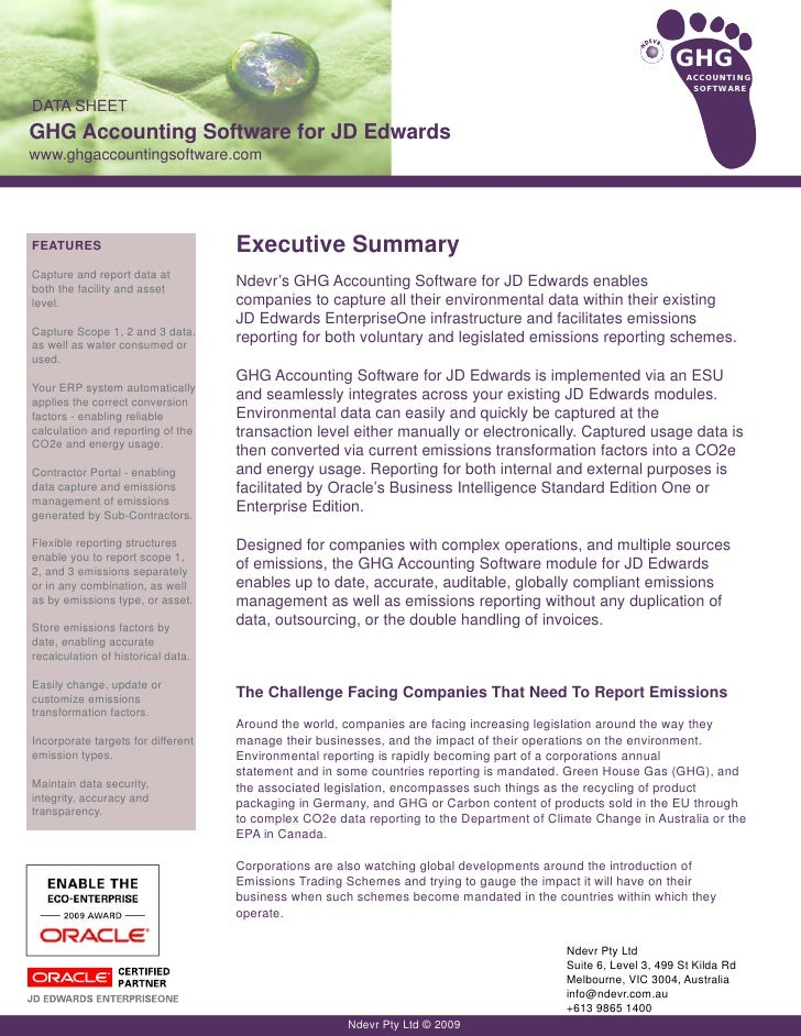 Data Sheet for GHG Accounting Software - JD Edwards EnterpriseOne