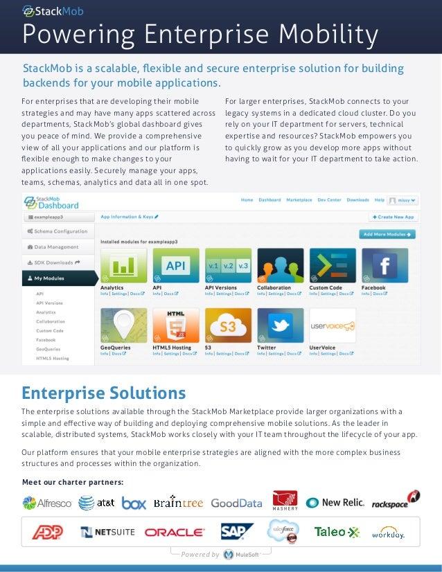 Powering Enterprise MobilityEnterprise SolutionsThe enterprise solutions available through the StackMob Marketplace provid...