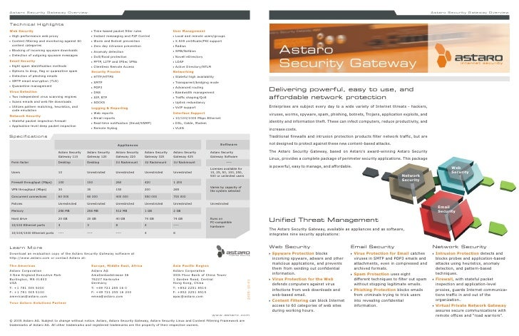 Astaro Security Gateway data sheet