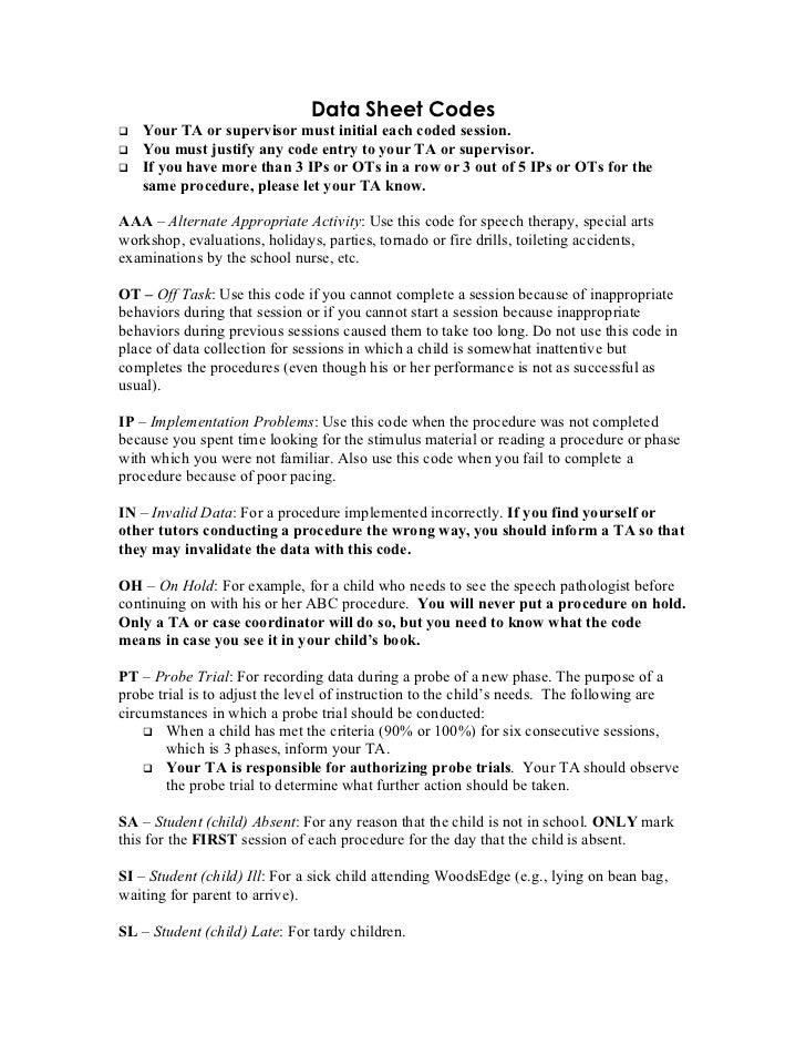 Data sheet codes