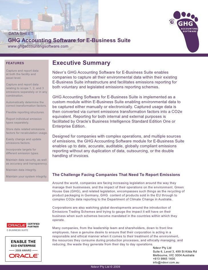 Data Sheet Ebs Ghg Accounting Software