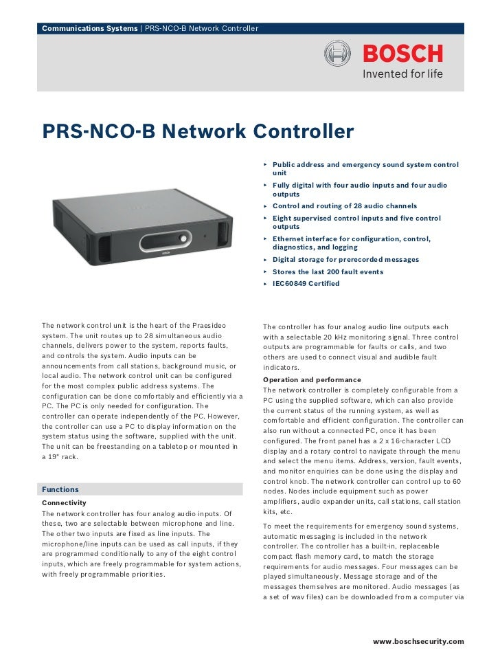 Communications Systems | PRS‑NCO‑B Network ControllerPRS‑NCO‑B Network Controller                                         ...