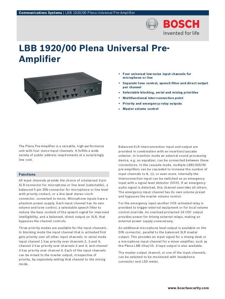 Communications Systems | LBB 1920/00 Plena Universal Pre-AmplifierLBB 1920/00 Plena Universal Pre-Amplifier               ...