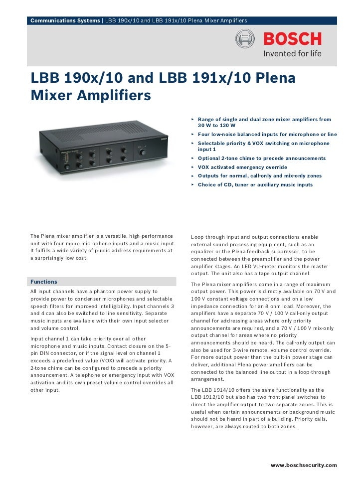 Communications Systems | LBB 190x/10 and LBB 191x/10 Plena Mixer AmplifiersLBB 190x/10 and LBB 191x/10 PlenaMixer Amplifie...