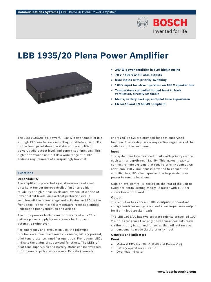 Communications Systems | LBB 1935/20 Plena Power AmplifierLBB 1935/20 Plena Power Amplifier                               ...