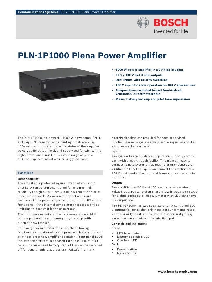 Communications Systems | PLN‑1P1000 Plena Power AmplifierPLN‑1P1000 Plena Power Amplifier                                 ...