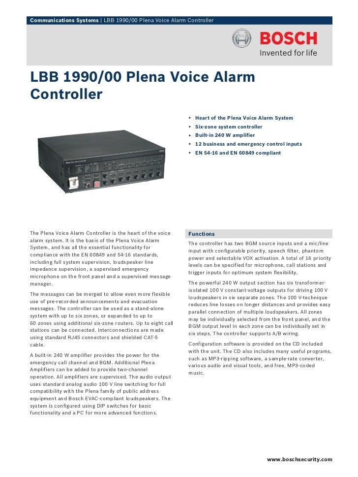 Communications Systems   LBB 1990/00 Plena Voice Alarm ControllerLBB 1990/00 Plena Voice AlarmController                  ...