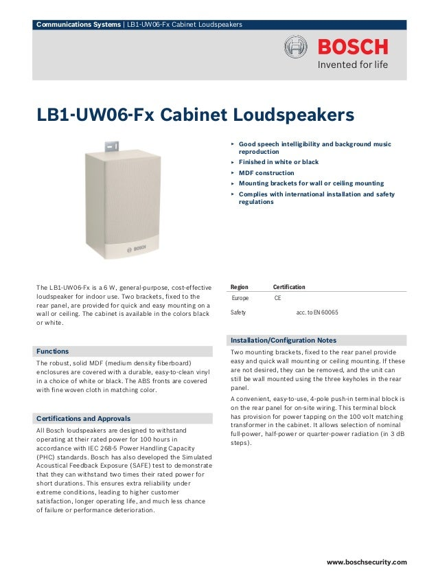 Communications Systems | LB1‑UW06‑Fx Cabinet LoudspeakersLB1‑UW06‑Fx Cabinet Loudspeakers                                 ...