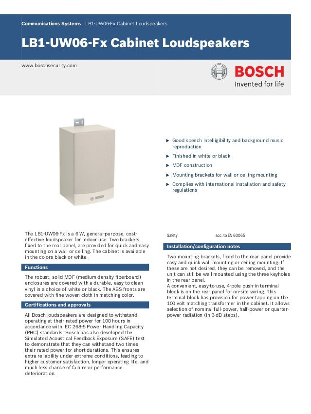 Communications Systems | LB1‑UW06‑Fx Cabinet LoudspeakersLB1‑UW06‑Fx Cabinet Loudspeakerswww.boschsecurity.com            ...
