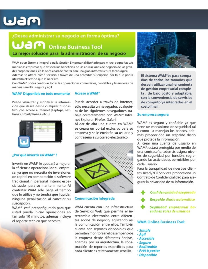 ¿Qué es                                       ? Ready2Fill Services lanza al mercado WAM ERP on the Cloud:   WAM es un Sis...