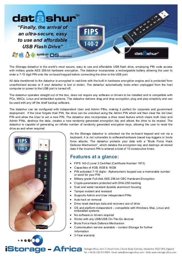 Datashur PIN Code access flash disk datasheet