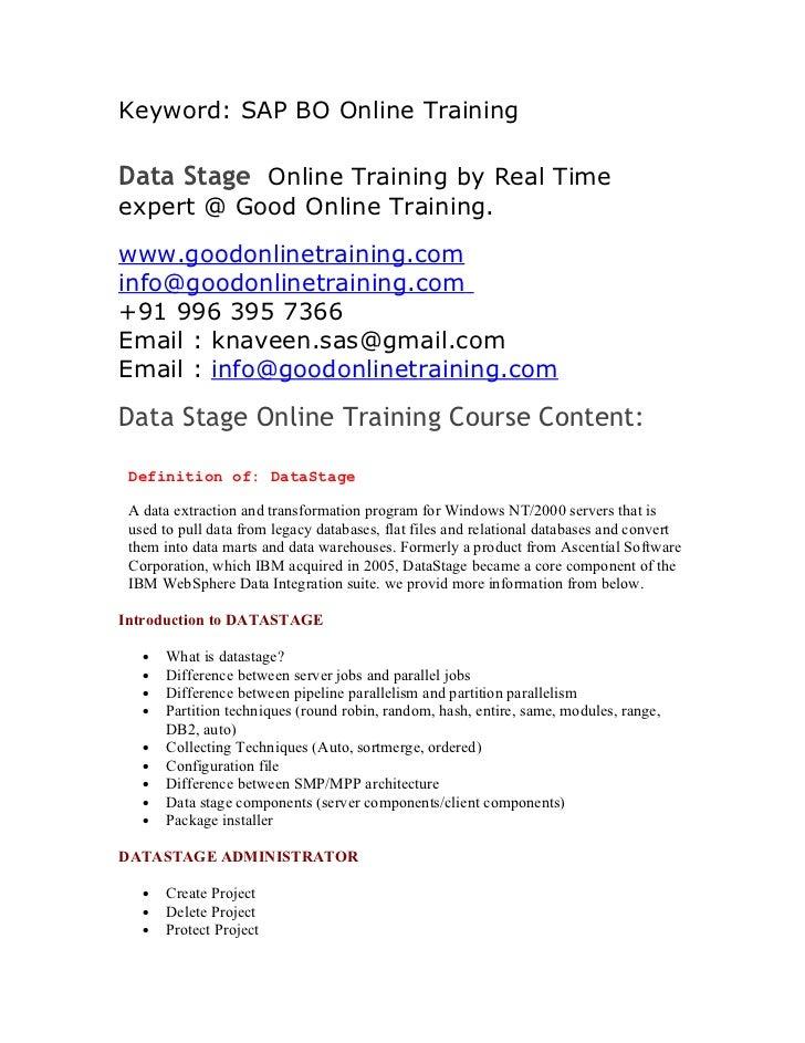 Keyword: SAP BO Online TrainingData Stage Online Training by Real Timeexpert @ Good Online Training.www.goodonlinetraining...
