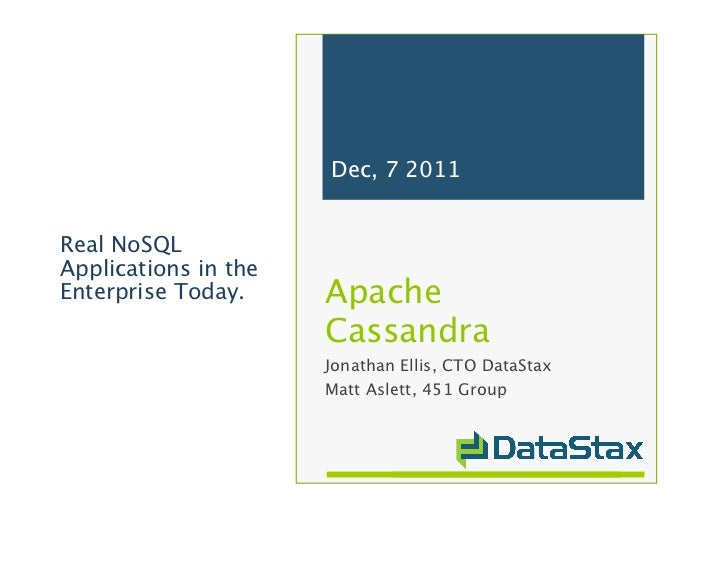 Dec, 7 2011Real NoSQLApplications in theEnterprise Today.    Apache